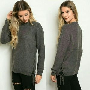 Sweaters - Side Lacing Chunky Sweater
